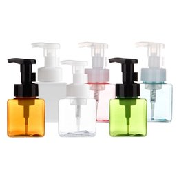 $enCountryForm.capitalKeyWord UK - 250ML Plastic Foaming Pump Soap Dispenser Bottle Square Shape Refillable Portable Empty Foaming Hand Soap Suds Dispenser Bottle Travel