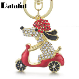 Biker cross pendant online shopping - beijia New Lovely Dog Motorcycle Biker Crystal Rhinestone Metal Bag Pendant Keyring Keychain For Car K183