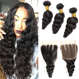 """tangle free human hair extensions 2019 - Brazilian Virgin Hair Grade 8A Hair Loose Wave 4""""*4"""" Lace Closure With 3 Bundles Unprocessed Human Remy Hair E"""
