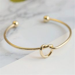 $enCountryForm.capitalKeyWord NZ - Metal Rose Gold Color Tie Knot Bracelet Bangles Simple Twist Cuff Open Bangles Jewelry Adjustable Bangle For Women Kids And Adults Jewelry