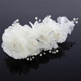 ivory flower fascinator Australia - New Arrive Ivory Or Pink Flowers Hair Accessories Bridal Tiaras Pearl Bead Handmade Flower Party Prom Embellished Fascinator Headwear