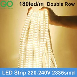$enCountryForm.capitalKeyWord NZ - 5m LED Strips Light 180led m 220V Super bright SMD 2835 Double Row Warm Cold White waterproof +Power Plug Hotel Building Lighting