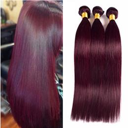 High Quality Bundle Human Hair NZ - 99j Wine Red Peruvian Virgin Hair Bundles Silk Straight Human Hair Extensions 3 Bundles Burgundy Hair Double Weft High Quality