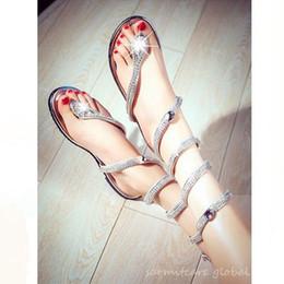 Shape Flat Canada - 0392 - 2016 New Snake Shape Women Flat Sandals with Rhinestones Fashion Gladiator Flip Flops Girl Trendy Sandals Free Shipping