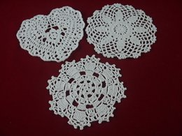 White Cotton Napkins Australia - handmade Crocheted Doilies White 3 Design lace cup mat vase Pad, Round coasters 15-16 cm Home Textiles table mat 30PCS LOT Table Napkin