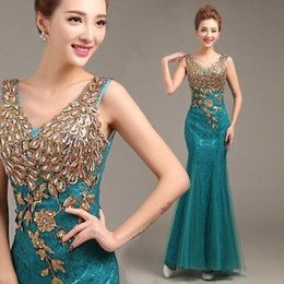 Barato Vestido Longo Formal Azul Turquesa-2015 New Arrival Vestidos Formal Vestido Elegante Mãe barata da noiva Lace Turquoise Mermaid Evening Party Dress Vestidos longos Evening Wear