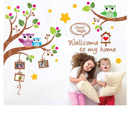 family quote decals Canada - Welcome to my house Owls Family Tree Wall Art Decal Sticker Kids Room Nursery Wall Decoration Mural Poster Good Night Wall Quote Decal
