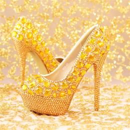 53f724d0d3c8 New fashion gold crystal wedding shoes handmade elegant bridal shoes round  toe party dresses shoes rhinestone high heels pumps
