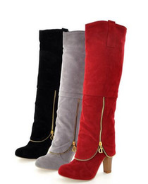 high heeled knight boots UK - 2017 autumn winter Europe and the United States new fashion ladies large size frosted stitching zipper boots Womens warm temperament was thi