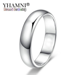 Ring lost online shopping - YHAMNI Lose Money Promotion Real Pure White Gold Rings For Women and Men With KGP Stamp mm Top Quality Gold Color Ring Jewelry BR050