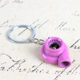 Car Key Sleeves NZ - Rose red Spin Sleeve Bearing Car Auto Parts Turbine Turbo Turbocharger Charm Pendant Key Ring Chain Creative Fashion Gift