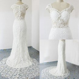 Barato Barato Moda Mangas Compridas-Sexy Write Mermaid Lace Wedding Dresses 2015 Fotos reais moda O-Neck Tribunal Train Cap Sleeve Long Vestidos de noiva Cheap Custom Made