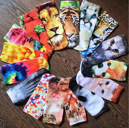 3d slippers Canada - Unisex 3D Animal Tatoo cut Ankle Socks Fashion Graphic Dollars skull Pussy Cat Rabbits Printed Socks Hosiery 200pcs lot