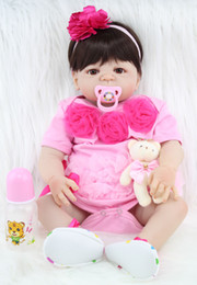 Discount cute reborn babies girls - 55cm Full Body Silicone Reborn Girl Baby Doll Toy Lifelike Pink Princess Dress Newborn Babies Doll Cute Birthday Gift Ba