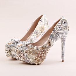 ab4ca302647 Funky platform gold crystal phoenix silver wedding dress shoes rhinestone  wedding evening party shoes for women