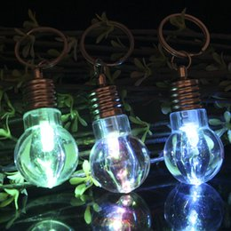 emergency led flashlight lamp 2019 - 7 LED Light Bulb Shaped Ring Bulb Keychain Flashlight shining Rainbow Color lights Key Ring background Lamp led cheap em