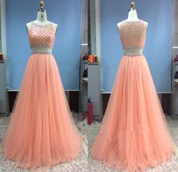 $enCountryForm.capitalKeyWord Canada - Two Piece Peach Long Prom Dresses With Beaded Sheer Tulle A Line Custom made Formal Evening Party Pageant Gowns 2016 Vestidos De Fiesta