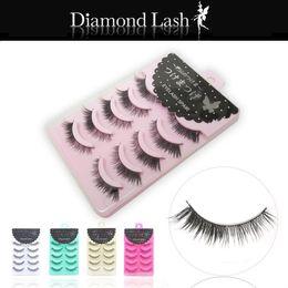 $enCountryForm.capitalKeyWord Canada - 5 pairs Long Thick Black Crisscross Japanese Diamond Lash False Eyelashes Fake Eye Lashes Makeup 5 Packing box for choices