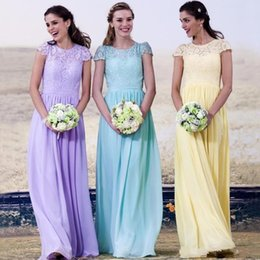 LiLac chiffon bridesmaid dresses short online shopping - 2016 Country Bridesmaid Dresses Lace Appliques Summer Chiffon Lilac Yellow Long Floor Length Wedding Guest Wear Maid of Honor Formal Gowns