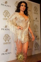 Gold Lace Short Dress For Wedding Canada - Long Sleeves Lace Short Gold Celebrity Dresses 2016 Luxury Prom Dresses For Wedding Party Dresses Custom Made Evening Gowns