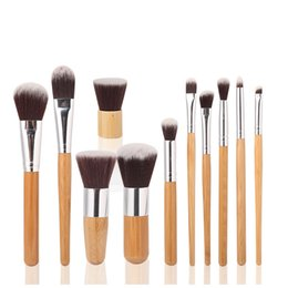 Wholesale 11pcs set Professional Bamboo Makeup Brush Set Goat Hair Cosmetic Makeup Brushes Kit With Bag Make Up Tools Portable Cosmetic Brush