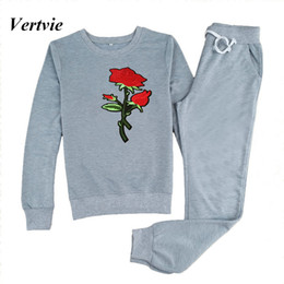 polyester yoga pants 2019 - Wholesale- Vertvie 2017 Tracksuit for Women 2 Piece Sets Casual Floral Embroidery Running Sweater+Pants Fitness Women&#0