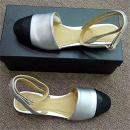 0c9a3f7b15908 Jhe09 Silver Mixed Color Cap-toe Closed Toe Slingbacks Sandals Thong  Genuine Leather Sandals Low Heel Dress Pumps Lady Women Shoes Sz 35-42