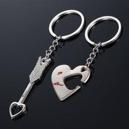 $enCountryForm.capitalKeyWord Canada - Brand New Fashion Cupids Arrow Lovers Couple Keychain Romantic Wedding Keychain Love Heart Key Chain Ring For Creative Gifts