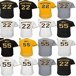 Negro 5xl Baratos-2017 Hombres Lady Kid Toddler Pittsburgh 22 Andrew McCutchen 55 Josh Bell Blanco Gris Negro Oro Barato Cool Flex Base Base Jerseys de béisbol