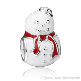 Chinese  New Red Scarf Cute Diy Snowman Design 925 Sterling Silver European Bead Charm For Snake Bracelets Women Fashion Jewelry manufacturers