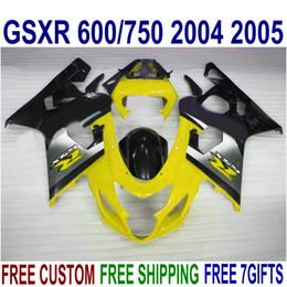 Motobike Kits Australia - Fairing kit for SUZUKI GSXR600 GSXR750 2004 2005 K4 motobike GSX-R600 750 04 05 yellow silver black high quality fairings set UR68