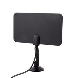 China Digital Indoor TV Antenna HDTV DTV HD 1080p TV Box Ready VHF UHF Flat Design High Gain HD TV DTV Box with Stand Mount Holder cheap tv antennae suppliers