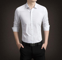Blue Shirt For Wedding Australia - Wholesales 2018 Newest Long Sleeves Groom Shirts Polo Men's Shirt White Business Slim overalls wear Wedding Accessory for Men 10 Colors