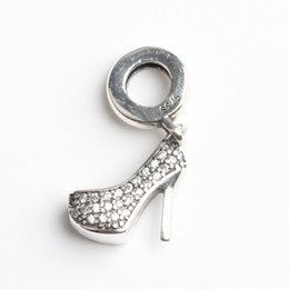Wholesale Real Sterling Silver Bead High Heel Fit Pandora Original Bracelet Charm Clear CZ DIY Jewelry Women Gift