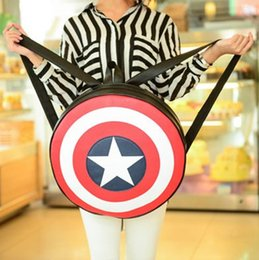 captain america backpacks Canada - Backpacks School Bags fashion European American Student Bag Captain America Shield backpack preppy style students backpack circle Round bag