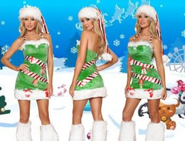 Barato Mini Miss Sexy-Sexy Candy Baby Papai Noel Vestido Verde Miss Elf Fancy Dress Outfit Natal Cosplay Santa Claus Costume Halter Mini Dress