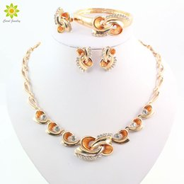 $enCountryForm.capitalKeyWord NZ - Fashion African 18k Gold Plated Costume Flower Shape Jewelry Sets Crystal Rhinestone Bridal Wedding Necklace Accessories