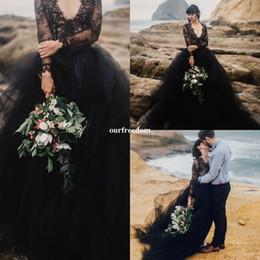 $enCountryForm.capitalKeyWord Australia - 2019 Black Wedding Dresses Long Sleeve Sexy V Neck Cover Back Puffy Tulle A Line Bridal Gown Bohemian Beach Style Cheap Hot Sale