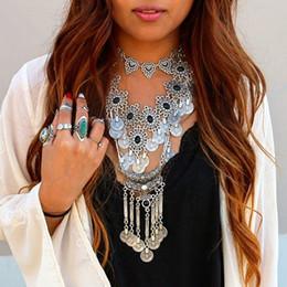 $enCountryForm.capitalKeyWord NZ - Women Fashion Jewelry Bohemian Style Gypsy Beach Ethnic Tribal Festival Jewelry Silver Coin Earring Necklace Set