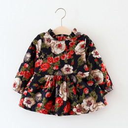 Barato Impressões Florais Ocidentais-Everweekend Kids Girls Vintage Princess Flowers Vestido de lã Baby Girls Printed Floral New Western Fleecee Dress
