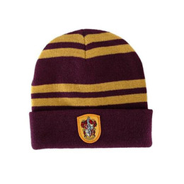 yellow fish costumes NZ - 2018 Quality Harry Potter Beanie Gryffindor Slytherin Skull Caps Hufflepuff Ravenclaw Cosplay Costume Caps Striped School Winter Fashion