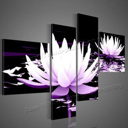 modern flower oil painting canvas Canada - 100% HD Painted 4 Piece Black White Purple Modern Decorative Oil Painting On Canvas Wall Art Flower Picture For Living Room