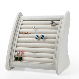 $enCountryForm.capitalKeyWord Canada - Top Grade Linen Jewelry Display Stand Earrings Ring Stud Holder Organizer Show Case Rings Storage Ear Pin Display Rack