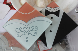 Coaster Favors Canada - Romantic Style Bride and Tuxedo Groom Glass Coaster Wedding Favors 300 pcs=150Sets 1203#03