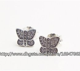 pandora new earrings Canada - New 100% S925 Sterling Silver European Pandora Style Jewelry Sparkling Butterfly with Clear CZ Stud Earrings