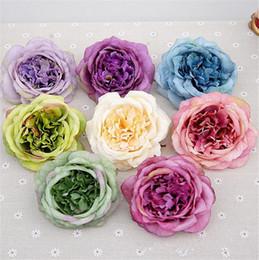 "Discount white tea roses artificial - HOT Rose Flower Head Dia. 10cm 3.94"" Artificial Oil Painting Camellia Tea Rose for Wedding Centerpieces 8 Colors"