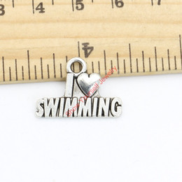 Swimming jewelry online shopping - Antique Silver Plated I Love Swimming Charms Pendants for Necklace Bracelet Jewelry Making DIY Handmade Craft x22mm Jewelry making DIY