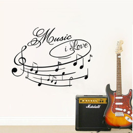 Wall Sticker Music Kids NZ - I Love Music Wall Stickers Musical Notes Creative Wall Decals Vinyl Adhesive Stickers For Wall