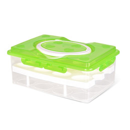 Green Box Containers Australia - 24 Grid Egg Box Food Container Organizer Convenient Storage Boxes Double Layer Durable Multifunctional Crisper Kitchen Products