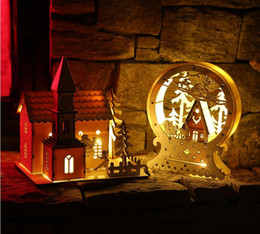 $enCountryForm.capitalKeyWord NZ - Christmas Decoration LED Lighting Small Wooden House wall hanging Xmas Tree Pendants Ornaments Christmas Party Decorations Gift
